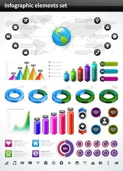 Infografiki kolekcji wykresów i wykresów wektor elementy projektu i zestaw ikon wizualizacji danych.
