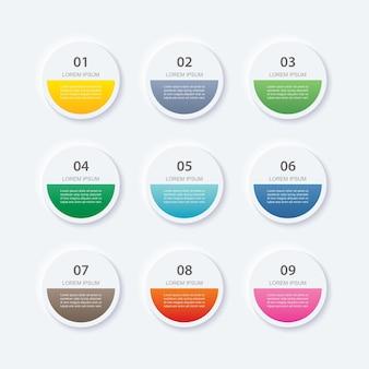Infografiki koło przycisk z 9 szablonów danych.