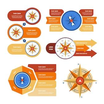 Infografiki kompasu gradientu
