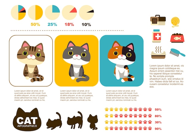 Infografiki kotów i elementy