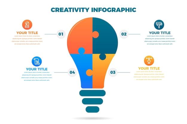 Infografiki kreatywności w płaskiej konstrukcji