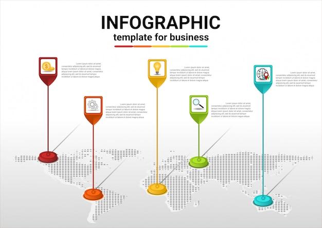 Infografiki krok biznesowy