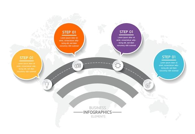 Infografiki. kroki lub procesy. 4 kroki.