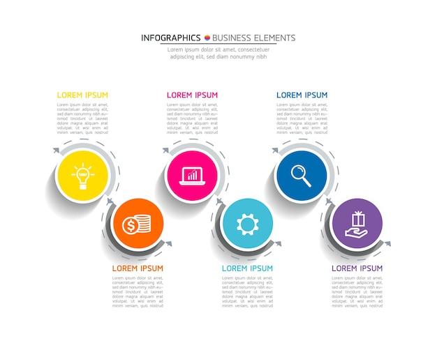 Infografiki. kroki lub procesy. 6 kroków.