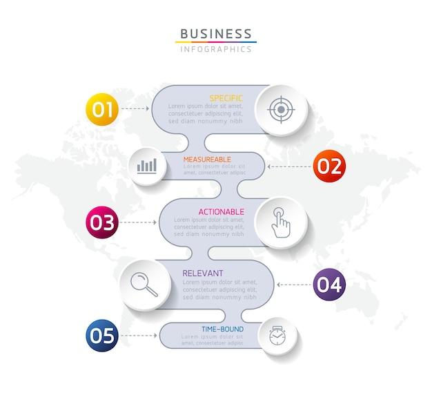 Infografiki. kroki lub procesy. opcje numer projektu szablonu przepływu pracy. 5 kroków.
