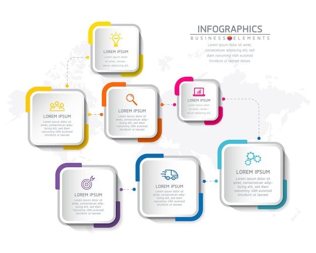 Infografiki. kroki lub procesy. opcje numer projektu szablonu przepływu pracy. 7 kroków.