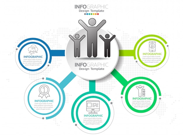 Infografiki krokiem biznes proces krok z krokiem.