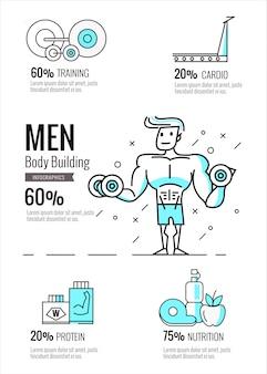 Infografiki kulturystyki mężczyzn. projekt linii płaskiej plansza