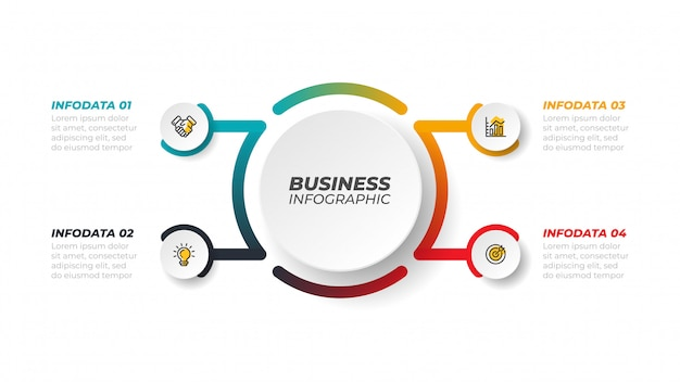 Infografiki linii procesowej wektor ze strzałkami. koncepcja biznesowa z 4 krokami, opcjami.