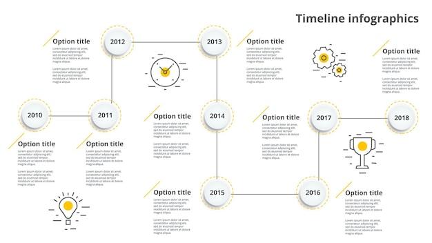 Infografiki liniowego przepływu pracy osi czasu biznesu.