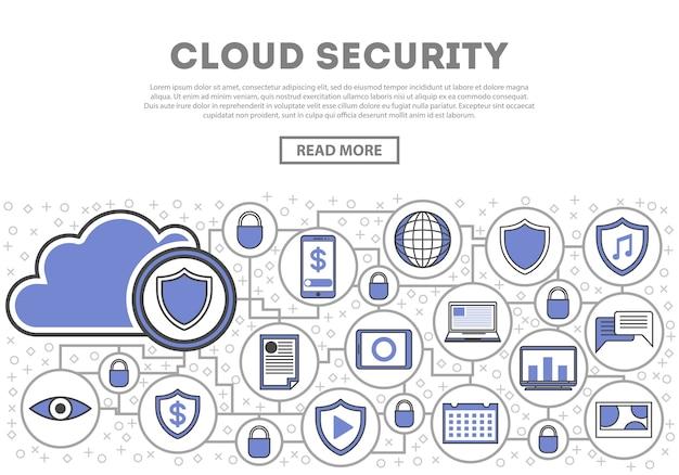 Infografiki liniowy styl bezpieczeństwa sieci chmura