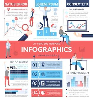 Infografiki ludzi - plakat informacyjny, układ szablonu okładki broszury z ikonami, inne elementy informacyjne i tekst wypełniacza