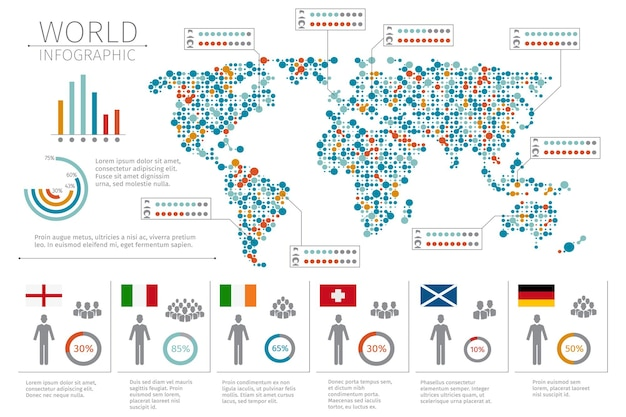 Infografiki ludzi świata. plansza człowieka na ilustracji mapy świata. statystyka świata i plansza
