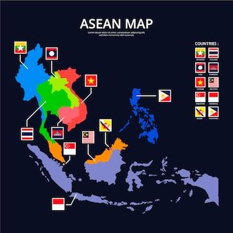 Infografiki mapy asean