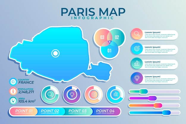 Infografiki mapy gradientu paryża