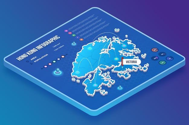 Infografiki mapy hongkongu w stylu izometrycznym