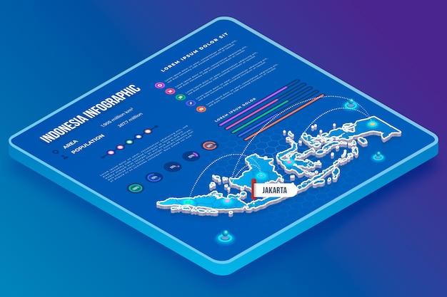 Infografiki mapy indonezji w stylu izometrycznym