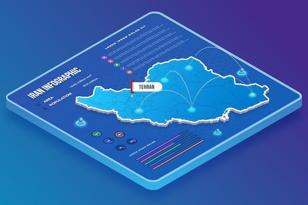 Infografiki mapy iranu w stylu izometrycznym