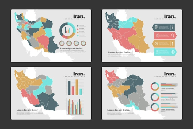 Infografiki mapy iranu