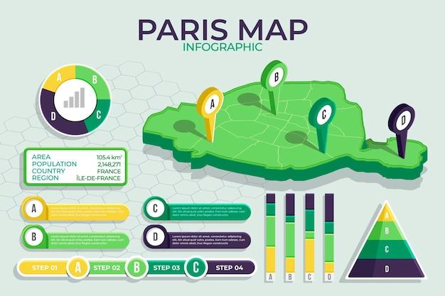 Infografiki mapy izometryczny paryża