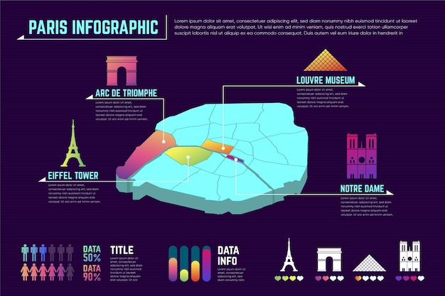 Infografiki mapy miasta paryża gradientu
