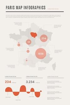 Infografiki mapy paryża płaskie