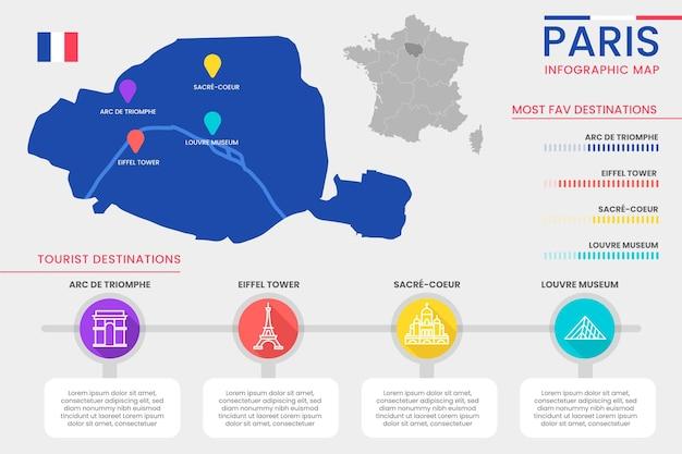 Infografiki mapy paryża w płaskiej konstrukcji