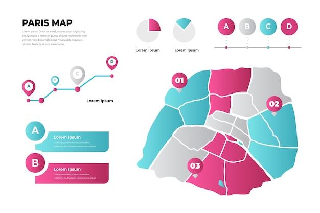 Infografiki mapy paryża w stylu gradientu