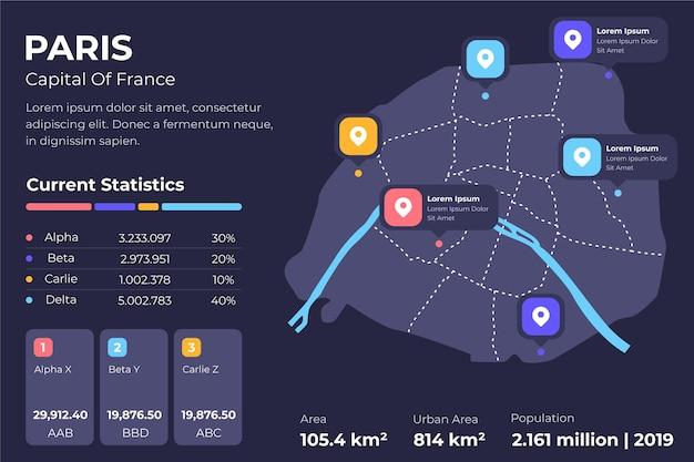 Infografiki mapy płaski paryż