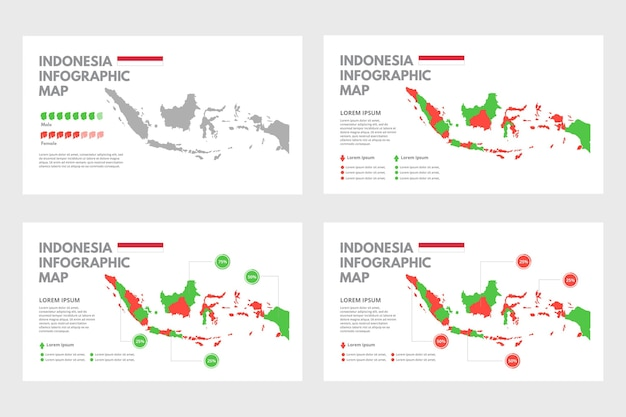 Infografiki mapy płaskie indonezji