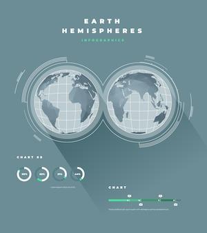 Infografiki mapy wielokątne półkul ziemi