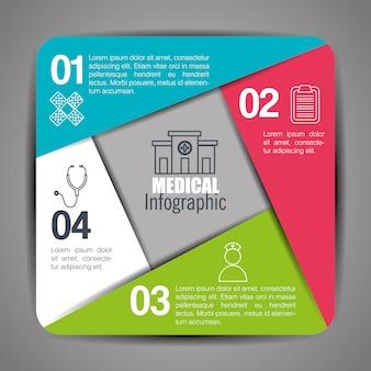 Infografiki medyczne z czterema krokami