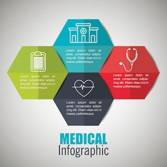 Infografiki medyczne z czterema opcjami