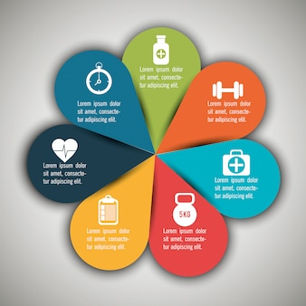 Infografiki medyczne z siedmioma opcjami
