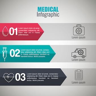 Infografiki medyczne z trzema krokami