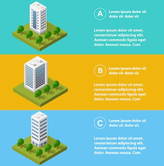 Infografiki miasta w izometrycznym z wieżowcami, ulicami i drzewami.