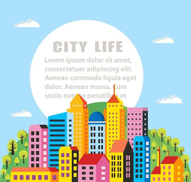 Infografiki miasta w płaskiej stylistyce domów i budynków