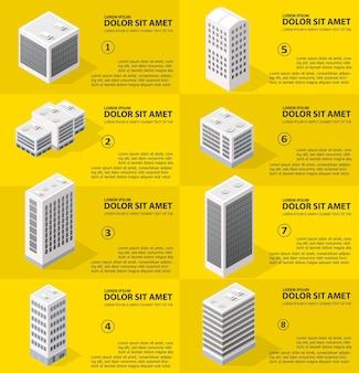 Infografiki miasta w rzucie izometrycznym z drapaczami chmur