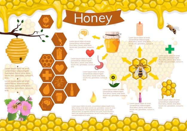 Infografiki miodu i pszczół.