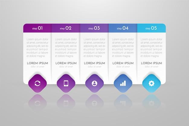 Infografiki mogą być używane do planowania przepływu pracy, diagramu, raportu rocznego, projektowania stron internetowych. koncepcja biznesowa z opcjami, krokami lub procesami.