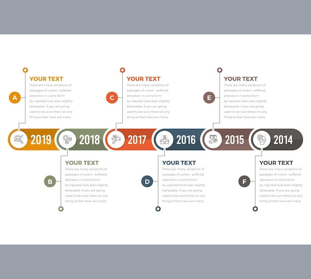 Infografiki Na Osi Czasu W 6 Krokach Premium Wektorów