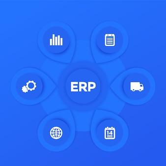 Infografiki oprogramowania erp wektor szablon projektu w kolorze niebieskim