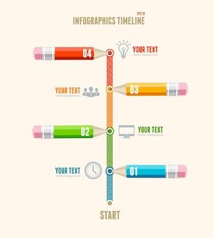 Infografiki osi czasu biznesu z ołówkami na białym tle płaska konstrukcja