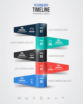 Infografiki osi czasu, elementy i ikony. wektor