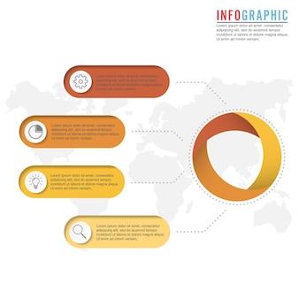 Infografiki osi czasu i ikony marketingu. koncepcja biznesowa z 4 opcjami.