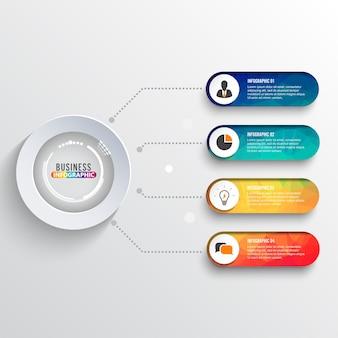Infografiki osi czasu. koncepcja biznesowa z 4 opcjami