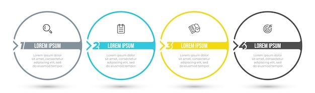 Infografiki osi czasu projekt etykiety z kółkiem i ikoną. koncepcja biznesowa z 4 opcjami lub krokami.