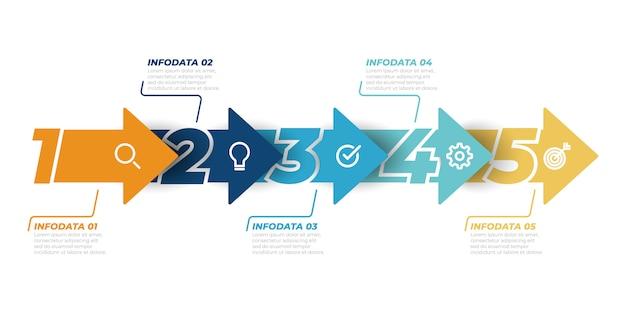 Infografiki osi czasu projekt wektor z szablonu strzałki. koncepcja biznesowa z 5 krokami, opcjami. może być używany do układu przepływu pracy, diagramu, wykresu informacyjnego, projektowania stron internetowych.