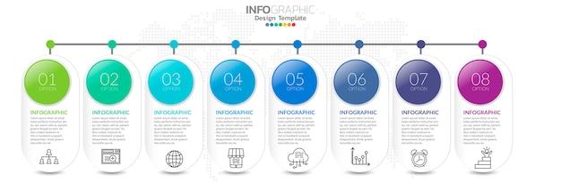 Infografiki osi czasu z ikonami krok i marketingu