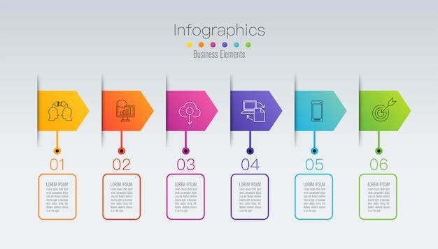 Infografiki osi czasu z krokami